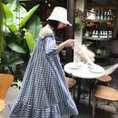 オフショルダーギンガムドレス