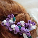 シルクのつまみお花のヘアアクセサリー