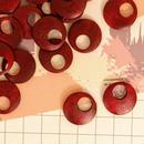 «10個入り» ウッド パーツ ラウンド レッド 赤 «20mm»