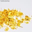 «100個入り» ピアスパーツ 円形平皿 カン付 ゴールド «8mm»