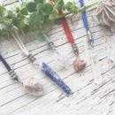 Gemstone / Cotton Code Necklace Silver Color