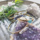 Gemstone/Leather Brass Bangle