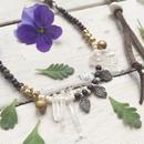 Metal Leaf/Crystal Necklace