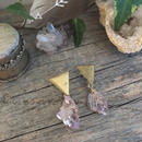 Triangle Plate  Wire Wrapped Crystal Earrings M