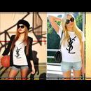 人気新品 tシャツ 激安 セレブ感 イヴ ・サン・ローラン 半袖 レディース