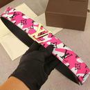 花柄 ルイヴィトン ベルト ファッション小物 ピンク 男女兼用 ウィメンズ メンズ