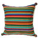 アフガニスタンの手織り布 マルチボーダークッションカバー  BR