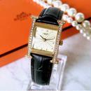 HERMES エルメス Hウォッチ ベルト2色付 ダイヤモンド 腕時計