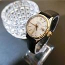 ROLEXロレックス デイト K18ベゼル レザーベルト腕時計