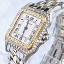 Cartier カルティエ パンテール  天然ダイヤモンド  97P  二重ダイヤベゼル OH済み コンビ 腕時計