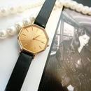 YSLイヴサンローラン ゴールドフェイス レザーベルト腕時計