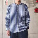 Manual Alphabet〈マニュアルアルファベット〉 LOOSE FIT レギュラーカラーシャツ STRIPE