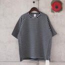 Manual Alphabet〈マニュアルアルファベット〉 HORIZON PILE BORDER Tee NAVY