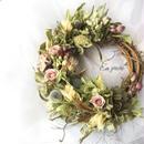 ポップブッシュと紫陽花のリース