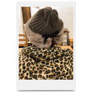 velours ribbon knit fur cap mocha brown