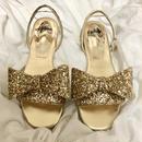 big ribbon 2way sandal glitter gold