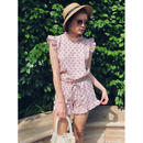 frill flower short pants pink