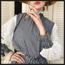 cotton lace×gingham frill blouse