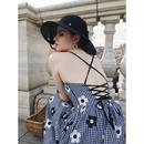 back lace-up gingham flower dress