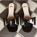 big ribbon 2way sandal enamel black
