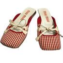 【スペシャルプライス】miu miu gingham check ribbon flat sandal
