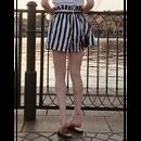 stripe short pants black