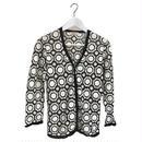 monotone patchwork design cardigan
