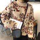 【EruMon】ヴィンテージフラワーニット ハイネックニット セーター