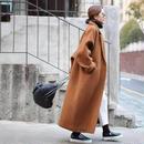 【EruMon】オーバーウールコート ロングコート ゆったりサイズ チェスターコート