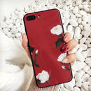 Red white flower iphone case