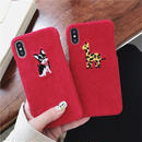 Red animal fabric iphone case