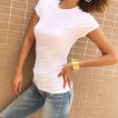 丸ネックベーシックコットンフィット半袖リブTシャツ(5色)