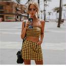 チェックチューブトップハーフスカートセット(2色) ワンピース
