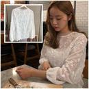 2015春夏 レース 花柄 ホワイト 長袖 ボリューム袖 デザイン袖 0235