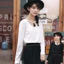 【Fcstyle】【送料無料】首元のフリンジが可愛い長袖トップス ホワイト ブラック ネックレス 韓国ブランド風 韓国ファッション