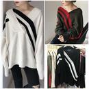 Vネック ニット セーター 変形 韓国ファッション トップス 0641