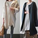 【Fcstyle】【送料無料】袖のファーがかわいいニットカーディガン ロング丈 アウター コート 韓国ファッション 韓国ブランド