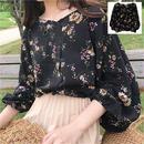 トップス バルーンスリーブ デザイン袖 花柄 Vネック ブラック 1467