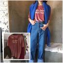 2018春夏 ベロア Tシャツ 半袖 ロゴ 英字 かわいい トレンドカラー ピンク 0256