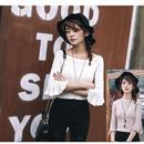 【Fcstyle】【送料無料】フレアスリーブの盛り袖が可愛い6分袖セーター ボートネック ホワイト ピンク 韓国ブランド風 韓国ファッション