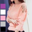 【Fcstyle】【送料無料】ふわふわの生地が可愛く、袖にレースが入ったルーズフィットセーター