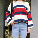 フレアスリーブが可愛いボーダー柄セーター