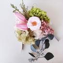 チューリップと平咲きローズの壁掛け ライトピンク
