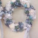 シャビーシック ブルーリース Sサイズ 25cm 青と白のお花のリース