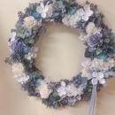 シャビーシック ブルーリース Lサイズ 35cm 青と白のお花のリース