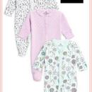 花柄スリープスーツ  3枚セット(0~24か月) ティール / ホワイト