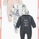 スリープスーツ  3枚セット(0~24か月) ピンク / グレー /水玉