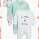 スリープスーツ  3枚セット(0~24か月) ホワイト / ミント / ミルク柄