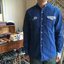 Needles Banded Collar Cowboay Shirt - Indigo Combo