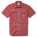 【Lee】MENS WESTERN CHECK SHIRTS(Red×Navy)/メンズ ウエスタン チェック 半袖シャツ(レッド×ネイビー)
